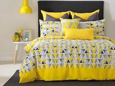 Floyd Quilt /Doona Cover Set Yellow Charcoal Grey Bianca 5 Sizes NEW
