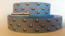 """Grosgrain Ribbon, Miniature Bumble Bees, Pink Daisy Flowers, Bee Hives Honey 1"""""""