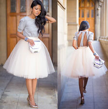 White Tulle Ballet Pleated Circle A Line Flare Ful Midi Skirt +Top Blouse Set