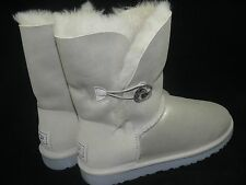 UGG Australia Women's Bailey I DO Silver Shimmery White Uggs rhinestone button