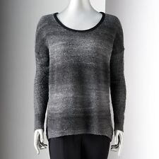 SIMPLY VERA WANG Womens Gray Purple Marled OMBRE SWEATER Lightweight Open Knit