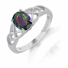 Rainbow Fire Topaz Infinity Celtic Oval Cut Birthstone Sterling Silver Ring