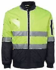 Men Adults Hi Vis Flying Jacket Work Bomber Safety Tape S M L XL 2XL 3XL 4XL 5XL