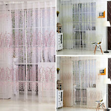 Tulle Door Window Floral Curtain Drape Divider Panel Voile Valances Scarf Sheer