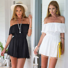 Sexy Women Boho Summer Casual Off Shoulder Evening Party Beach Dress Mini Dress