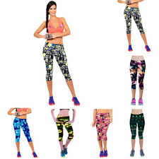 Women Pants Printed Fitness Yoga Sport Pants High Waist Stretch Cropped Leggings