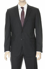 DKNY Mens Slim Fit Black Pinistriped Two Button Wool Suit