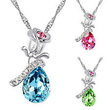 Women Well-Made Rhinestone Rose Flower Tear Drop Pendant Charm Chain Necklace