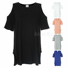 AnnaKastle New Womens Cut-Out Off Shoulder Stretch Top Tee T-Shirts S - M
