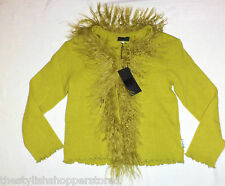 MISS GRANT COUTURE GIRLS CARDIGAN JACKET MONGOLIAN SHEEP FUR OLIVE RRP £145 NWT