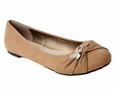 WOMENS TAUPE DIAMANTE FLAT BALLET DOLLY PUMPS SHOES LADIES BIG SIZES UK 7-10