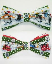 (1) PRE-TIED BOW TIE - CHRISTMAS PENGUINS ON PARADE WITH GREEN TRIM - 2 DESIGNS!