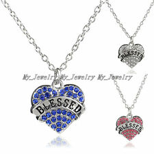 Women Crystal Rhinestone Heart Blessed Words Pendant Necklace Jewelry Xmas Gifts