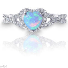 White Gold Infinity Celtic Engagement Heart Moon Blue Fire Opal Silver Ring