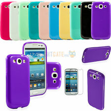 JELLY Gel TPU Silicone Rubber Case Cover For Samsung Galaxy S3 III I9300 +Film