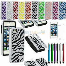 ZEBRA Hybrid Combo Tuff Rugged Hard/Soft Case Cover Stand for iPhone 5 5S+Gifts