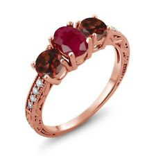 2.24 Ct Oval Red Ruby Red Garnet 18K Rose Gold Plated Silver Ring