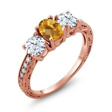 2.32 Ct Oval Checkerboard Yellow Citrine 18K Rose Gold Ring