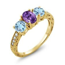 1.87 Ct Oval Purple Amethyst Sky Blue Topaz 18K Yellow Gold Plated Silver Ring