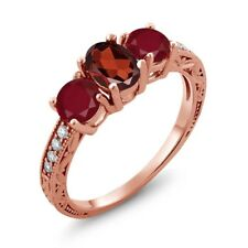 2.12 Ct Oval Red Garnet Red Ruby 18K Rose Gold Plated Silver Ring