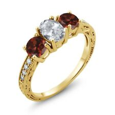 2.17 Ct Oval White Topaz Red Garnet 18K Yellow Gold Plated Silver Ring