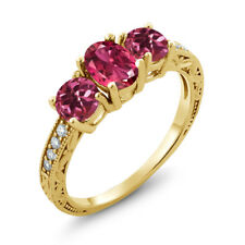 1.97 Ct Oval Pink Tourmaline 18K Yellow Gold Plated Silver Ring