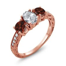 2.17 Ct Oval White Topaz Red Garnet 18K Rose Gold Plated Silver Ring