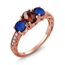 2.12 Ct Oval Checkerboard Red Garnet Blue Simulated Sapphire 14K Rose Gold Ring