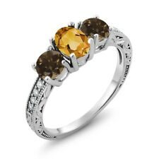 1.64 Ct Oval Yellow Citrine Brown Smoky Quartz 18K White Gold Ring
