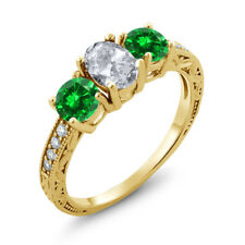 2.75 Ct White Topaz Green Simulated Emerald 18K Yellow Gold Plated Silver Ring