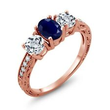 2.14 Ct Oval Blue Sapphire White Topaz 18K Rose Gold Plated Silver Ring