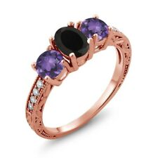 1.82 Ct Oval Black Onyx Purple Amethyst 18K Rose Gold Plated Silver Ring