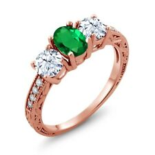 2.22 Ct Oval Green Simulated Emerald 18K Rose Gold Plated Silver Ring