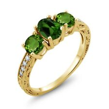 1.92 Ct Oval Green Chrome Diopside 18K Yellow Gold Plated Silver Ring