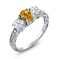 2.32 Ct Oval Checkerboard Yellow Citrine 14K White Gold Ring