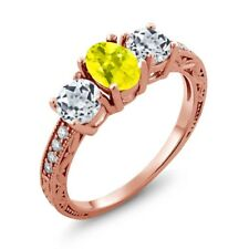 1.92 Ct Oval Canary Mystic Topaz White Topaz 18K Rose Gold Plated Silver Ring