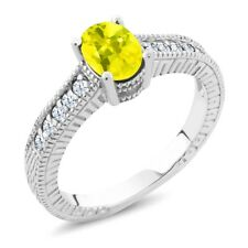 1.35 Ct Oval Canary Mystic Topaz White Created Sapphire 925 Sterling Silver Ring