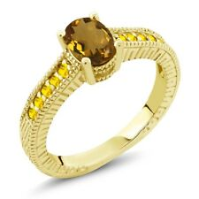 1.20 Ct Oval Whiskey Quartz Yellow Sapphire 18K Yellow Gold Plated Silver Ring