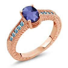 1.15 Ct Checkerboard Blue Iolite Swiss Blue Simulated Topaz 14K Rose Gold Ring