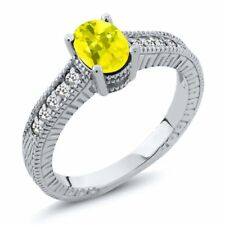 1.17 Ct Oval Canary Mystic Topaz White Sapphire 18K White Gold Engagement Ring