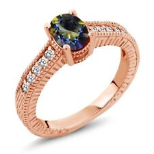 1.17 Ct Oval Blue Mystic Topaz White Sapphire 18K Rose Gold Plated Silver Ring