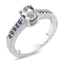 1.35 Ct Oval White Topaz Purple Amethyst 925 Sterling Silver Engagement Ring
