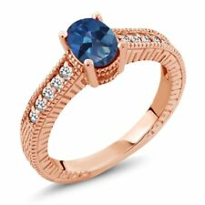 1.17 Ct Oval Royal Blue Mystic Topaz White Sapphire 14K Rose Gold Ring