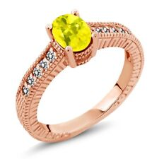 1.28 Ct Oval Canary Mystic Topaz White Diamond 18K Rose Gold Plated Silver Ring
