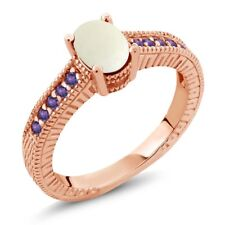 1.03 Ct Oval Cabochon White Opal Purple Amethyst 18K Rose Gold Engagement Ring