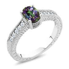 1.35 Ct Oval Green Mystic Topaz White Created Sapphire 14K White Gold Ring