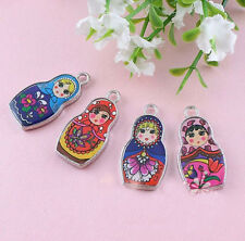 Two-Sided Enamel Matryoshk Russian Doll  Fitting  Necklace Pendant DIY 5Pcs