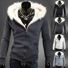ON SALE Mens Coat Winter Warm Fur Collar Hooded Jacket Hoodies Sweatscoat S~XL