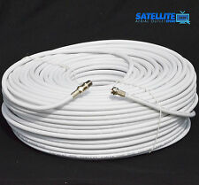 15m White RG6 Satellite Freesat Digital TV Aerial Sky Coax Cable + Fitted F plug