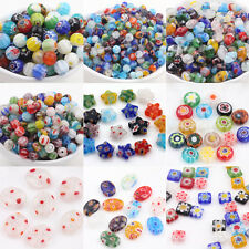 New Wholesale 20/50Pcs Shining Mixed  Millefiori Glass Findings Charms Beads DIY
